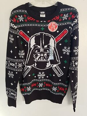 New Star Wars Disney Darth Vader Ugly Christmas LED Light Saber Sweater sz S (Ugly Christmas Sweater Star Wars)