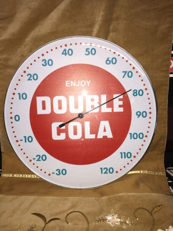 VINTAGE DOUBLE COLA SODA ROUND THERMOMETER