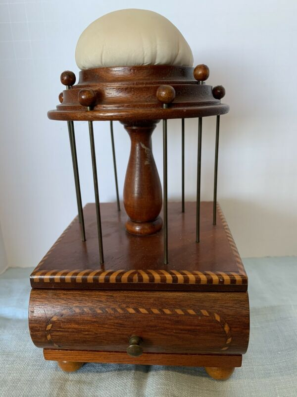 Antique Wood Sewing Caddy Pin Cushion Thread Spool Holder Thimble Needle Case