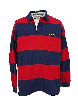 Vintage 90's TOMMY HILFIGER Spell-Out Pullover Fleece Shirt Striped Mens XL