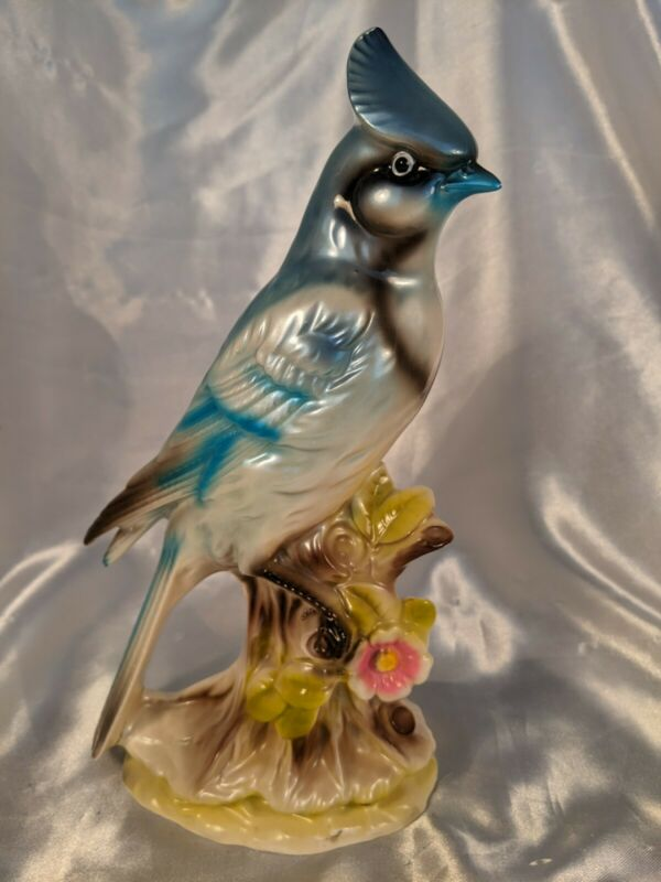 """Vintage Bluejay on Branch W Pink Flower 10 3/4"""" Tall Luster Iridescent Figurine"""