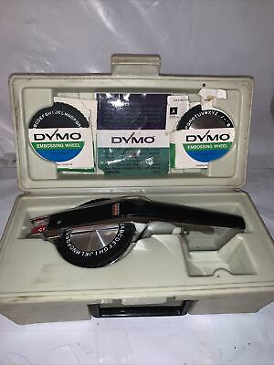 Vintage Dymo Deluxe 1570 Label Maker In Case With Embossing Wheels No Tape