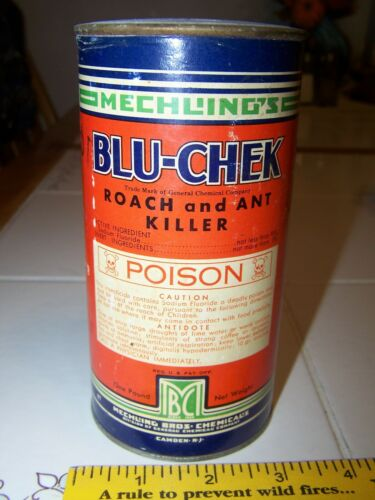 VINTAGE ADVERTISING BLU-CHEK ROACH ANT KILLER CAN TIN FULL