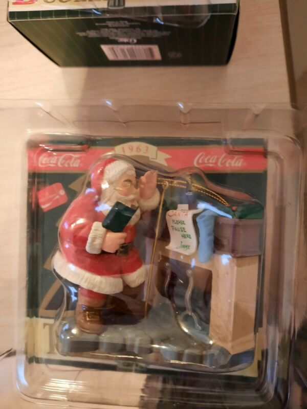 """Coca-Cola Trim a Tree Collection~""""Santa at the Fireplace""""~1995~Tree Ornament"""