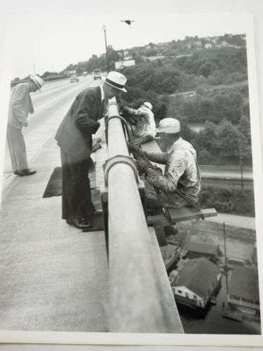 Vintage Crime Scene Photo Detectives Looking for Evidence on Bridge B&W 8 x 10""