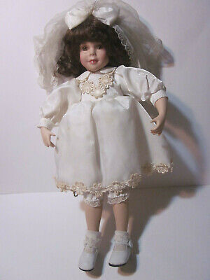 """VINTAGE 16"""" TALL PORCELAIN GIRL DOLL IN COMMUNION DRESS AND CROSS NECKLACE"""
