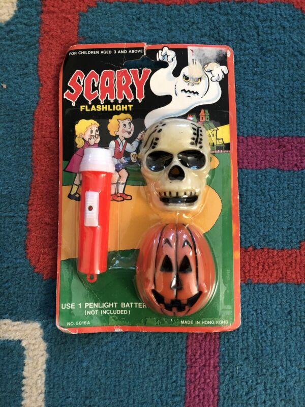 Vintage Halloween Scary Jack-O-Lantern Skull Flashlight Hong Kong No. 5016a