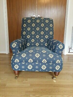 Classic Armchair blue yellow rolled arms and rolled back