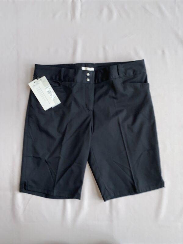 NWT $65.00 Womens Adidas Climalite Burmuda Stretch Black Golf Shorts Size 12