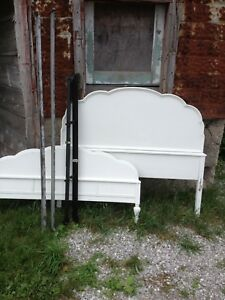 Antique Double Headboard and Foot board bed frame