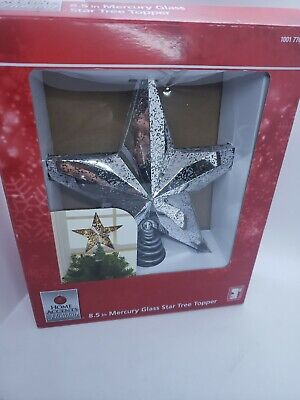 Home Accents Holiday 8.5 inch Silver Mercury Glass Star Tree Topper with Lights!