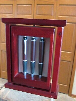 Dark Cherry Executive Desk Set 2 Pen 1 Pencil Holder Wood Base Picture Holder