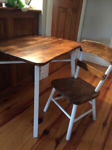 Antique children's table and chair