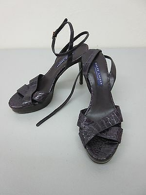 RALPH LAUREN COLLECTION Made in Italy Deep Purple Alligator Platform Heels 7 B