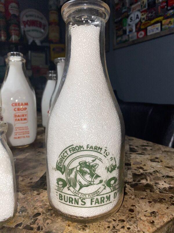 Freeburn's Farm Dairy Pyro Florida Quart Milk Bottle Lake City, FLA.
