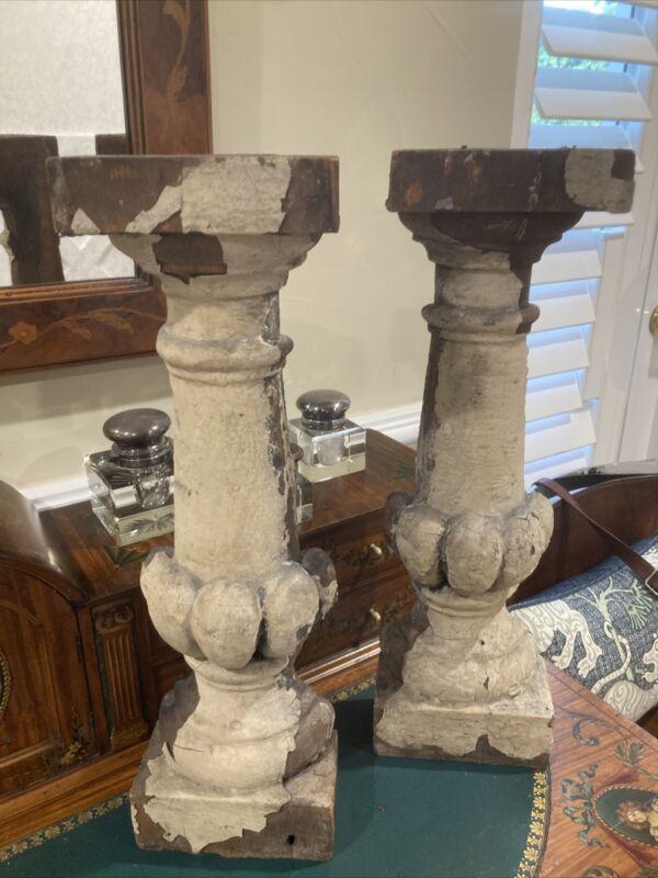 PAIR 19th Century Half Spindle Column Architectural Salvage
