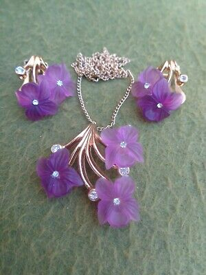 Vintage Christian Dior Purple Frosted Lucite Flower Pendant & Earrings Set 16