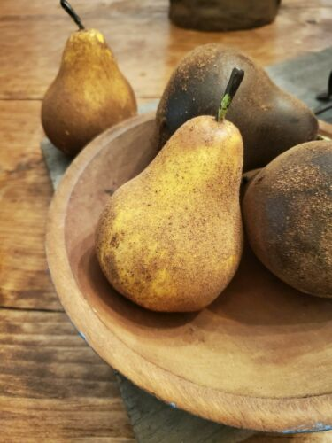 Lot Six Primitive Blackened Wax Pears  Judy Condon NR