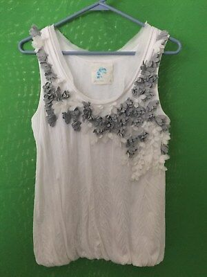 6921) C. KEER ANTHROPOLOGIE sz S sleeveless knit top pullover white gray small