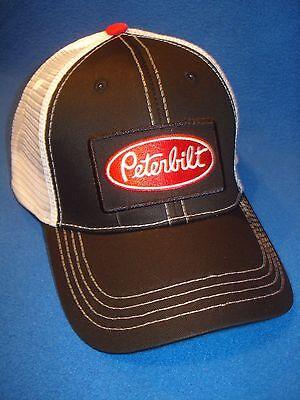 PETERBILT HAT / TRUCKER CAP / BLACK  / WHITE SUMMER MESH (Black And White Trucker Hat)