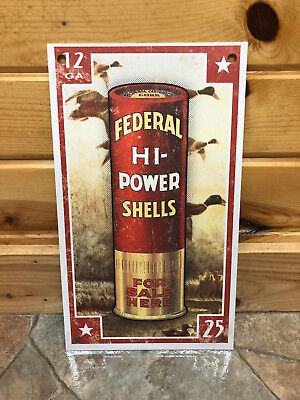Federal Hi-Power Shotgun Shell Tin Sign