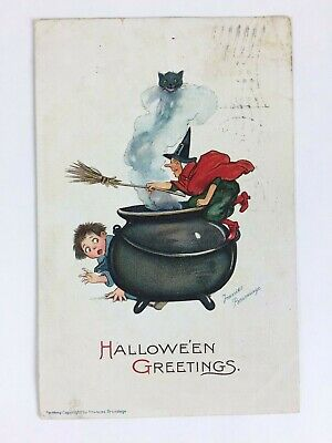 Vintage Halloween Postcard By Artist Frances Brundage Witch Chasing Boy Series 1