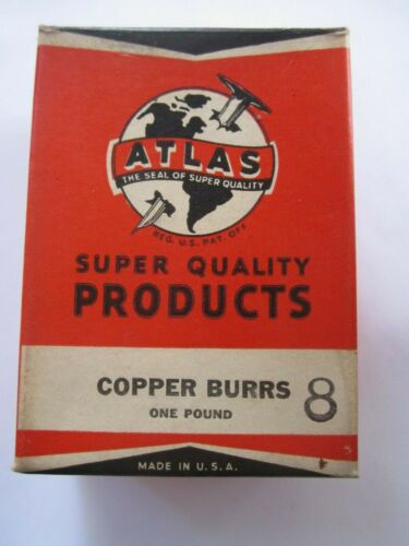 "1940 ATLAS #8 SOLID COPPER RIVET BURRS 1/2"" DIAMETER 1/8"" HOLE 1Lb BOX 440 BURRS"