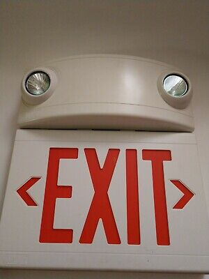 LED NIB Hubbell HCXURW-03L combination emergency lighting unit// exit sign