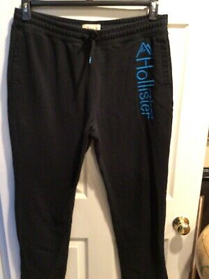 Hollister Sweat Pants / XL / Black With Torquoise Lettering / Draw String