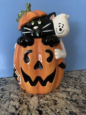 DAVID'S COOKIES Halloween Pumpkin Cookie Jar w/BLACK CAT & GHOST ~ MINT!