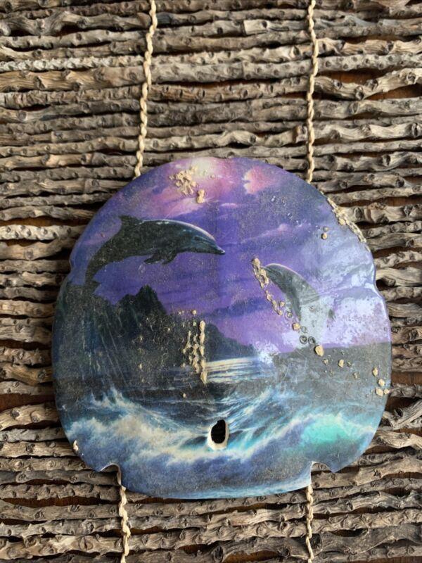 "Dolphin Sand Dollar Hand Painted 5"" Nautical Beach Decor UNIQUE OOAK"