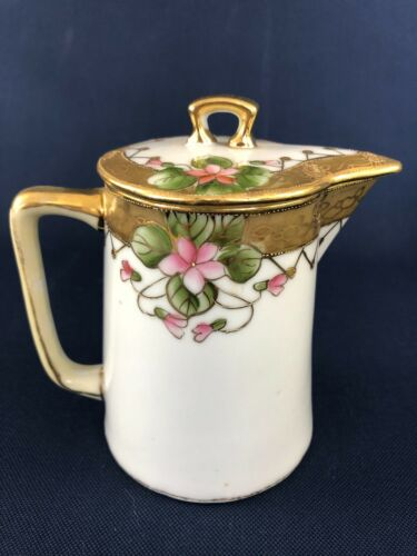 Antique hand painted Morimura Bros. porcelain syrup pitcher Nippon 1891 - 1921