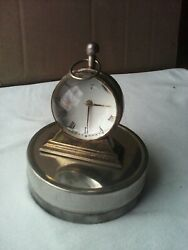 Vintage The Kings Movt India 17 Jewels Desk Clock With Magnifying Glass. Working