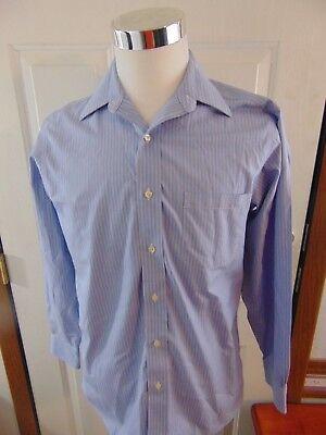 Brooks Brothers Regular Fit Non-Iron Blue White Dress Shirt  14.5-32/33 GUC