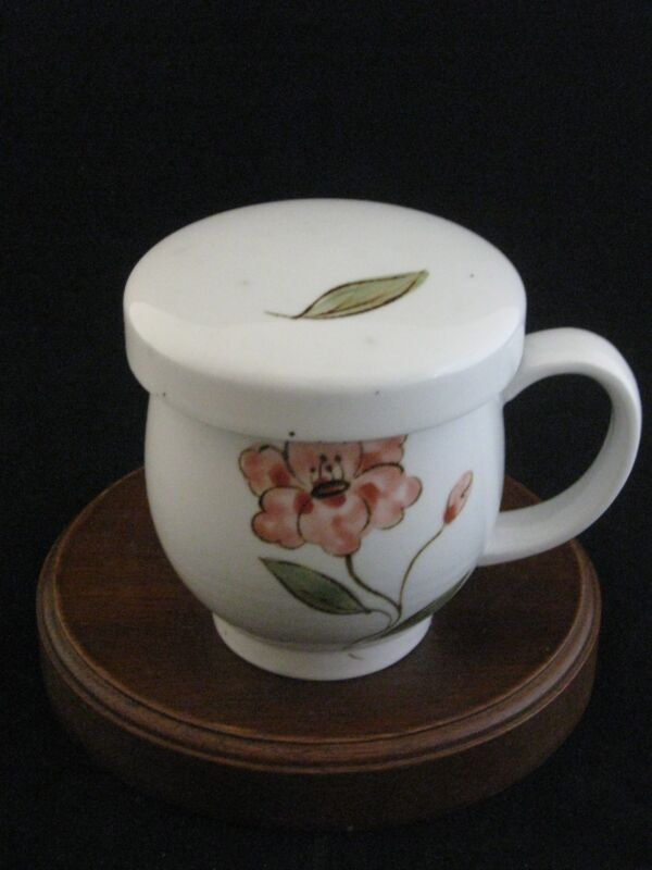 Natural & Basic Lidded Floral Stoneware Mug with Strainer Made in China