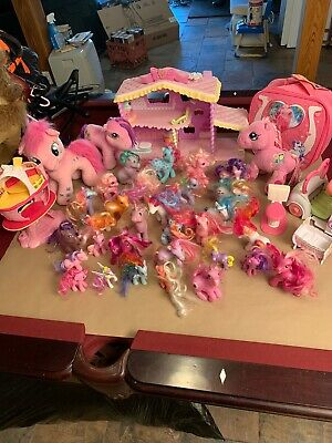 My Little Pony Lot - 30 Ponies, 3 Plush, Car, 2 Playhouses And Accessories