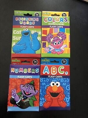4 PACKS SESAME STREET FLASH CARDS - ABCs NUMBERS COLORS EARLY WORDS 144 - Sesame Street Coloring Books