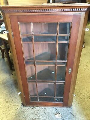 Old Plank Back  Corner Display Cabinet Cupboard Wall Mount  With Key  4/11/H