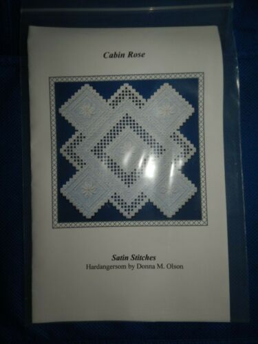 (l) CABIN ROSE Hardangersom Embroidery Pattern-Donna M. Olson-Satin Stitches