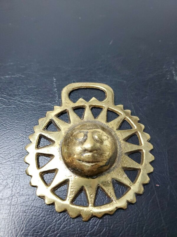 Vintage Celestial Sun Horse Brass Medallion Harness Ornament Rare