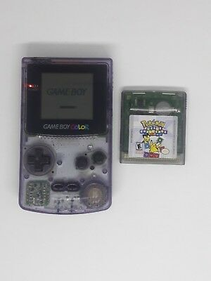 Nintendo Gameboy Color Atomic Clear Purple With Pokemon Puzzle Challenge