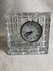 Large Waterford Crystal Quadrata Cube Cut Square Desk Clock, Brand New Battery