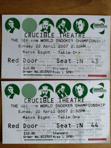 World Snooker Championship 2007. 2 tickets dated 22-4-2007 crucible theatre