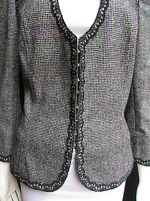 Andrew Gn Women Black Gray White Check Trendy Fashion Lace Jacket Deep V Size XL