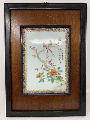 Chinese Export Famille Rose Painted Porcelain Figural Calligraphy Framed Plaque