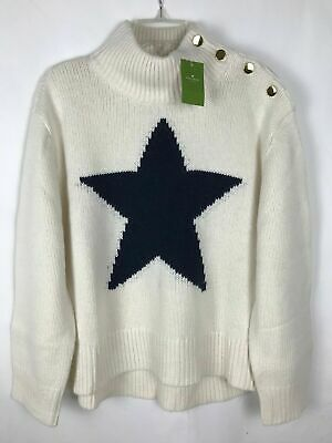 Kate Spade Broome Street Star Turtleneck Sweater Cream Cashmere Sz XS & XL