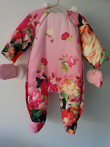 d8b44528e TED BAKER BNWT Baby Girl Snowsuit Mittens Set Snow Gear Coverall