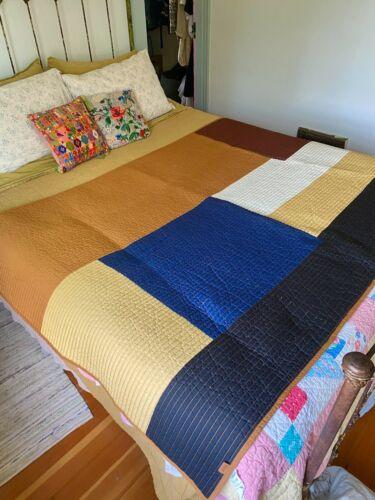 FERM Living Scandinavian Handmade Organic Cotton Color Block Quilt Blanket
