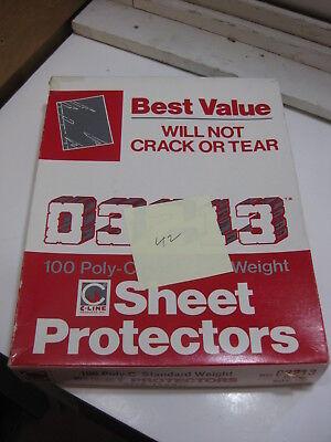 Vintage Open Box C-line 03213 Poly-c Sheet Protectors 42 Count 8 12 X 11