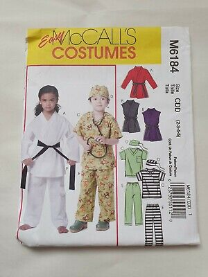 McCalls Sewing Pattern 6184, Childs' Karate and Scrubs Costumes, size CDD 2-5  - Childs, Scrub